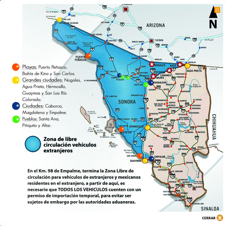 Cananea Mexico Map.Sonora Only Vehicle Permits Baja Bound Mexican Insurance