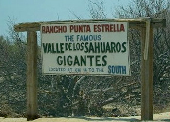 Valle de los Gigantes sign