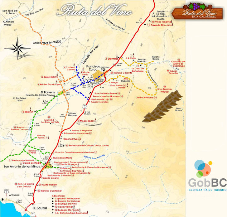 baja wine country map baja bound mexican insurance